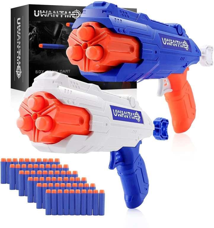 Uwantme 2er Set Schaumstoff-Blaster inkl. 60 Pfeile für 13,19€ inkl. Prime Versand (statt 22€)