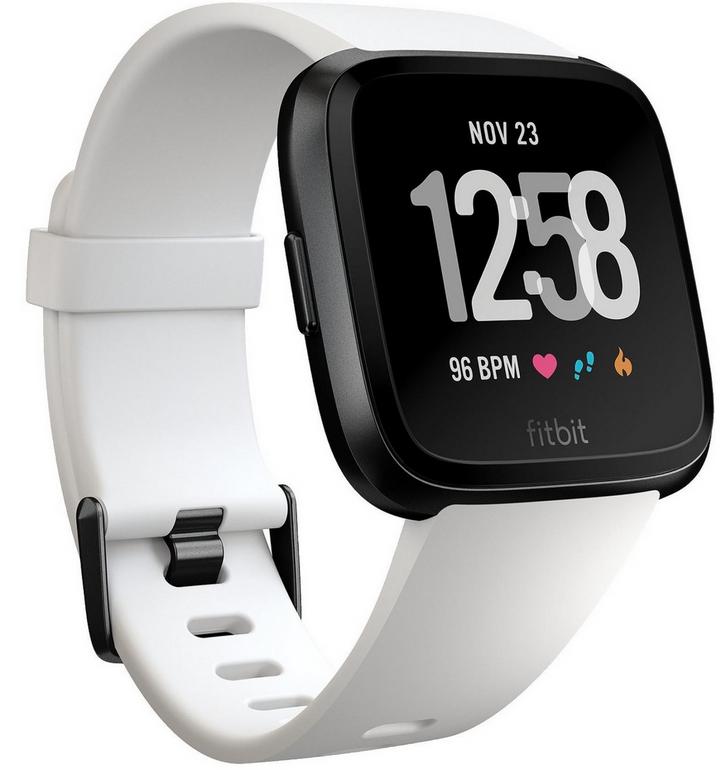 Fitbit Versa, Fitnesstracker & Smartwatch in weiß/schwarz für 145€ (statt 176€)