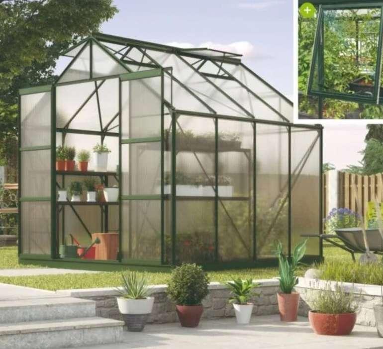 Vitavia Jupiter 6700 Gewächshaus (smaragd grün, 6,7 m², 3 mm ESG, B257 x T258 x H246 cm) für 999€