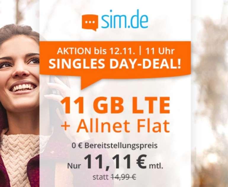 Knaller! Sim.de o2 Allnet-Flat mit 11GB LTE Datenvolumen (bis zu 50 Mbit/s) für 11,11€ mtl. (ohne Vertragslaufzeit)