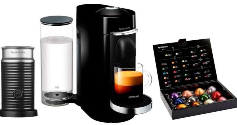 Nespresso Kapselmaschine ENV 155.B Vertuo Plus + Aeroccino Milchaufschäumer + 12 Kapseln für 84,90€