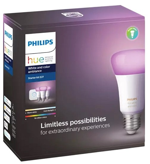 Philips Hue White & Color Ambiance E27 Bluetooth Starter Set (3 Lampen + Bridge) für 99,41€