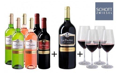 Wein Probierpaket La Pauline Spezial (6 Weinsorten + 4 Gläser) für 49,99€