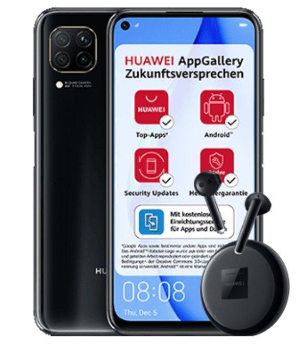 Huawei P40 Lite + Huawei Freebuds 3 (10,88€) + Blau Allnet Flat L mit 5GB LTE für 11,99€ mtl.