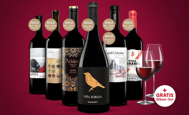 Vinos Festwein Paket mit 6 Flaschen inkl. Schott Zwiesel Ivento 2er-Gläserset für 29,23€