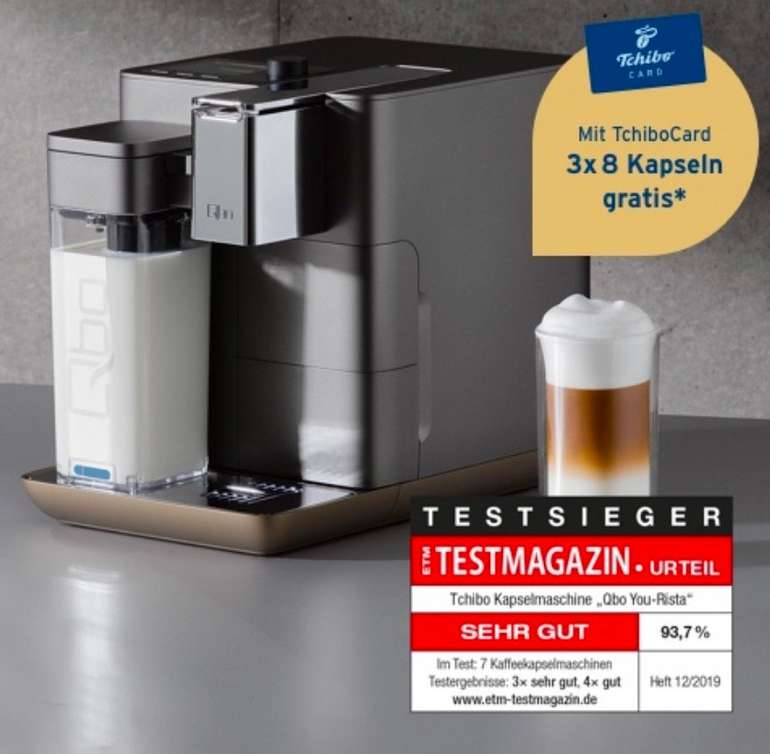 Qbo You Rista Kaffeemaschine + Milk Master + Kaffe Starter Set für 145€ inkl. Versand (statt 249€)