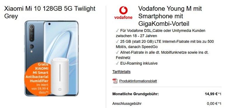 Xiaomi Mi 10 + Mi Luftbefeuchter + Vodafone Allnet-Flat mit 25GB LTE 2