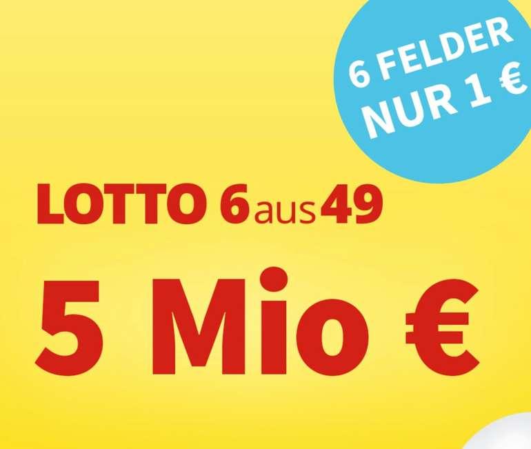 Lottohelden: 6 Felder 6aus49 für 1€ - aktuell sind 5 Millionen € im Jackpot!