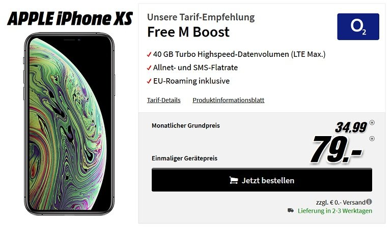 iPhone XS 256GB o2 Free M Boost Allnet-Flat 40GB LTE
