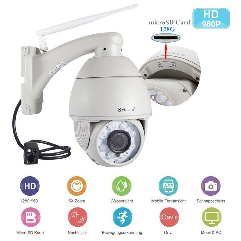 Sricam HD 960P PTZ Wifi IP Kamera (Nachtsicht, Bewegungsmelder, IP66) für 99,99€