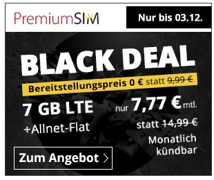 PremiumSIM: o2 Allnet-Flat mit 7GB LTE Datenvolumen für nur 7,77€ mtl. (mtl. kündbar & keine AG!)