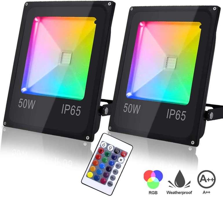 Verschiedene Hengda RGB Strahler mit Fernbedienung (2 Stück) z.B 50W für 35,81€
