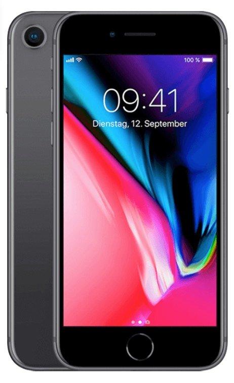 Apple iPhone 8 mit 64GB Speicher (22€) + O2 Free M Allnet & SMS Flat mit 6GB LTE für 24,99€ mtl.
