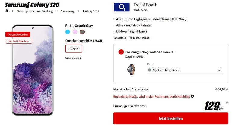 Samsung Galaxy S20 o2 Allnet-Flat mit 40B LTE