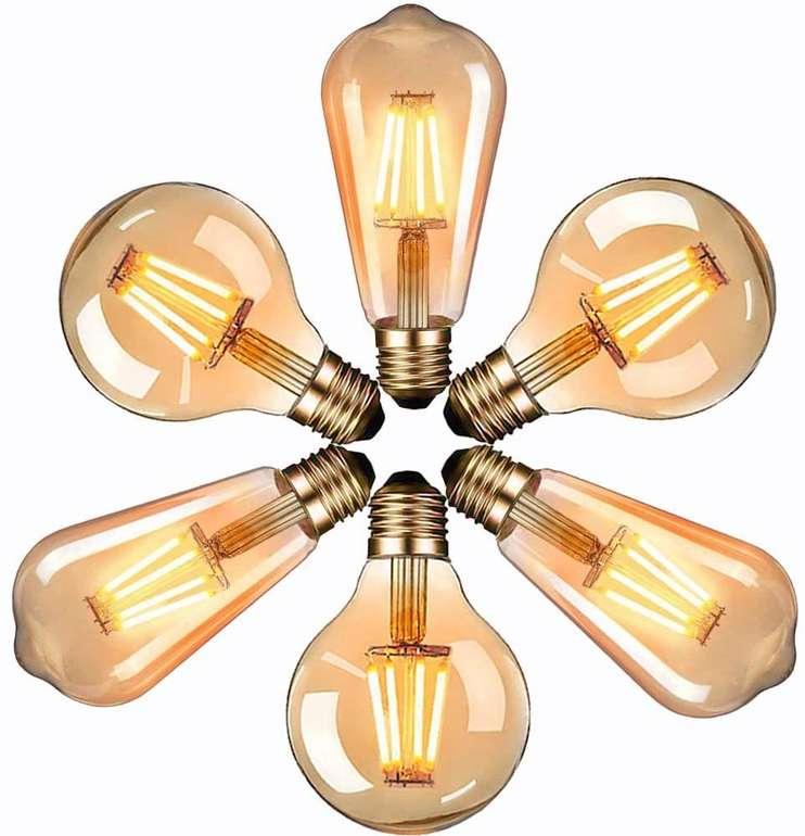 Massway 6er Pack Edison E27 LED Glühbirnen (2700K, 340LM) für 17€ inkl. Prime Versand (statt 27€)