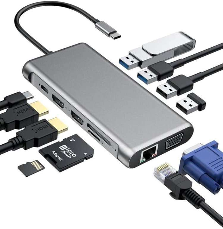 ABBB 12 in 1 USB-C Hub (Gigabit Ethernet, Dual 4K HDMI, VGA) für 29,99€ inkl. Versand (statt 60€)