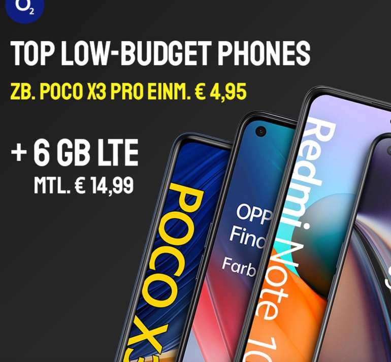 Sparhandy Low Budget Phone Deals - z.B. Xiaomi Poco X3 Pro (4,95€) + o2 All-In S Allnet & SMS Flat mit 6GB LTE für 14,99€ mtl.