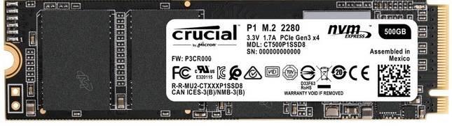 Crucial P1 M.2-NVMe-SSD mit 500GB für 53,50€ inkl. Versand (statt 64€)