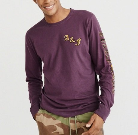 """Schnell? Abercrombie & Fitch Pullover """"ls Tech Logo Rugby"""" Lila für 19,71€"""