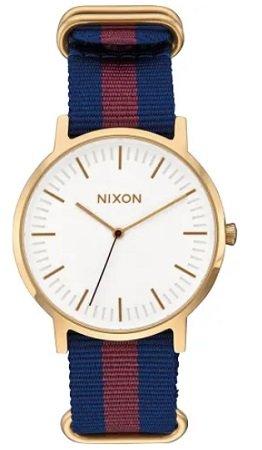 """Nixon Uhren im Sale, z.B. Quarzuhr """"Porter"""" in Blau/ Gold/ Weiß für 44,94€"""