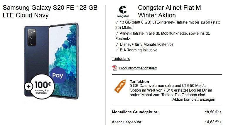Samsung Galaxy S20 FE Congstar Telekom Allnet-Flat M 8GB LTE