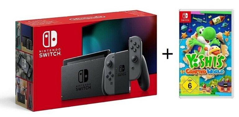 Nintendo Switch Grau + Yoshi´s Crafted World für 335€ (statt 365€)
