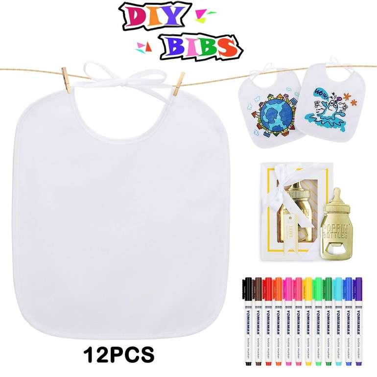 Lenbest - 12er Pack Baby Lätzchen zum Bemalen inkl. 12 Textilstiften für 11,39€ (Prime)