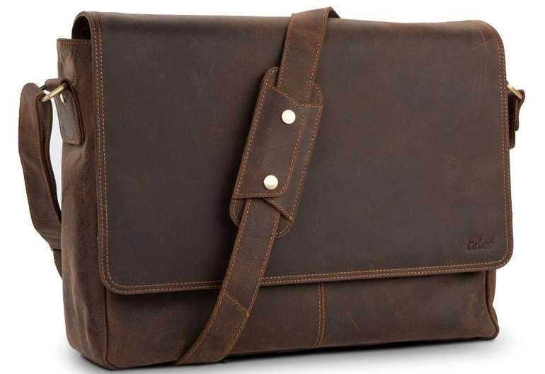 """Taled Premium Messenger Bag - Schultertasche für 15,6"""" Notebooks aus Leder für 89,90€ (statt 130€)"""