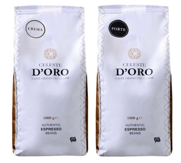 2kg Celeste d'Oro Kaffeebohnen (Crema und Forte) für 32,99€ inkl. Versand