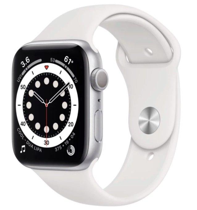 Apple Watch Series 6 GPS 44mm (448x368, OLED, 32GB, Puls- & Sauerstoffmessung, NFC) für 409,90€