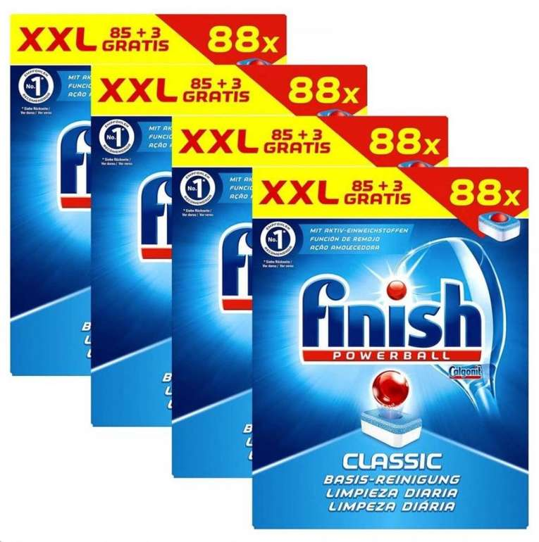 4x 88er Pack Finish Classic Regular Spülmaschinentabs (352 Tabs!) für 27,99€ inkl. Versand