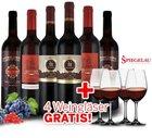Italien Genusspaket mit 6 Flaschen Rotwein + 4 Spiegelau Gläser für 54,85€