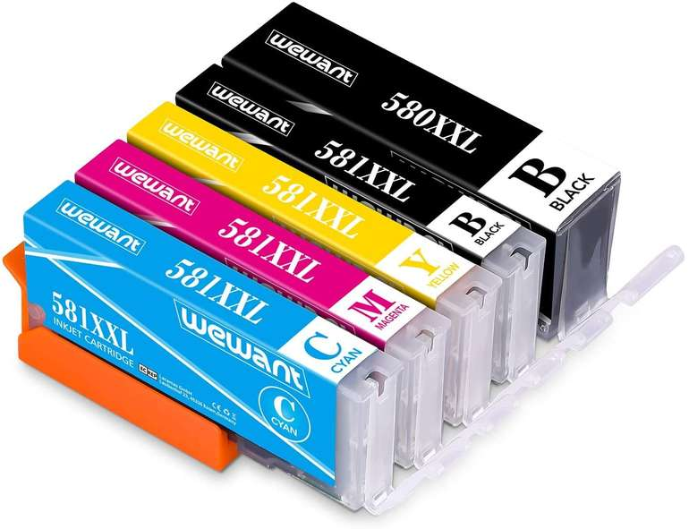 Wewant kompatible Ersatz Druckerpatronen PGI-580 CLI-581 XXL (Canon) für 12,94€ inkl. Prime Versand (statt 26€)