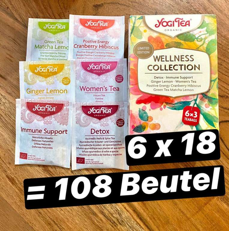 Yogi Tea - Wellness Collection (6 x 18 Beutel) für 17,99€ inkl. Versand (statt 27€)