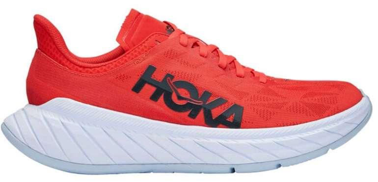 Herren Wettkampf Laufschuhe: Hoka Carbon X 2 in rot (Neutral, Carbon-Platte, 5mm Sprengung, 239g) für 141,70€