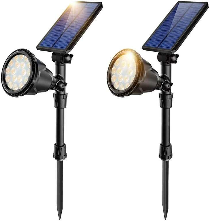 Jsot Solarlampen im Doppelpack (IP65, 18 LEDs, 2 Modi) für 23,99€ inkl. Versand (statt 40€)