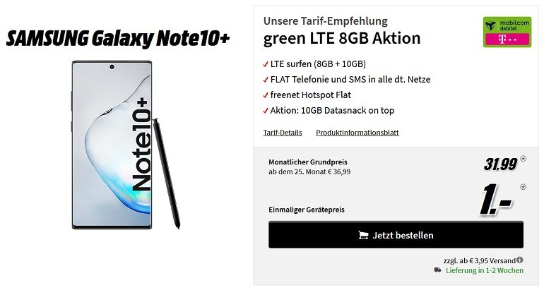 Samsung Galaxy Note 10+ Telekom Allnet Flat 18GB LTE