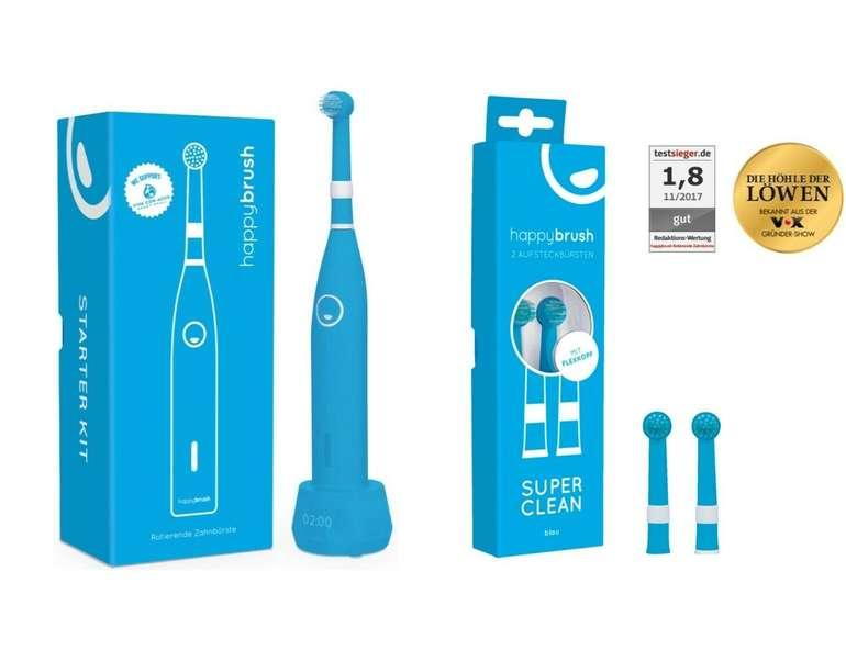 Happybrush - Elektrische Schallzahnbürste mit IPX7-Schutz und 2 Ersatzbürsten für 13,99€ (statt 20€)