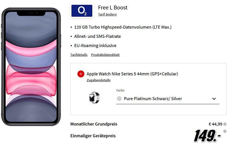 Apple iPhone 11 + Apple Watch Nike Series 5 44mm mit o2 Allnet-Flat mit 120GB LTE 5G