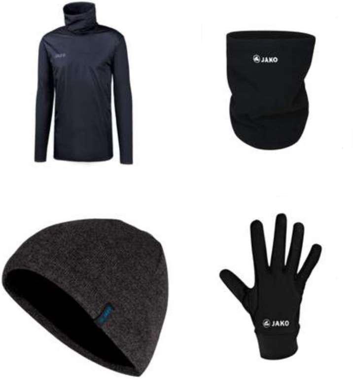 4-tlg. Jako Trainingsset Winter (bestehend aus Trainingsoberteil, Mütze, Halswärmer, Handschuhe) für 42,95€