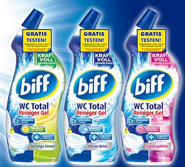 Biff WC Total Reiniger Gel, drei verschiedene Sorten, ein Produkt gratis testen