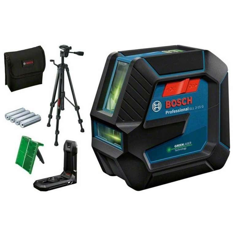 Bosch Linienlaser GLL 2-15 G Grün inkl. Stativ BT 150 & Zubehör für 127,86€ inkl. Versand (statt 143€)