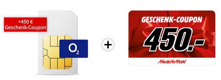 o2 Free M Tarif (20GB LTE, Allnet- und SMS Flatrate) für 29,99€ mtl. + 450€ Media Markt Gutschein