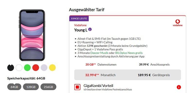 Apple iPhone 11 64GB odafone Young L Tarif