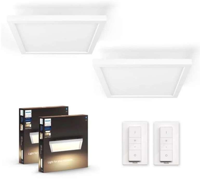 2er Set Philips Hue White Ambiance Aurelle Deckenleuchten mit Bluetooth + 2 Dimmschalter für 214€
