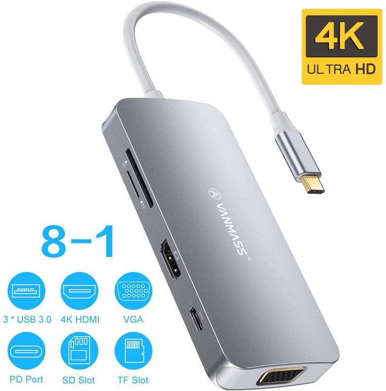 Vanmass 8-in-1 USB C Hub (USB 3.0, 4K HDMI, VGA, PD Port, Kartenleser) in 2 Farben für je 25,99€ (Prime)