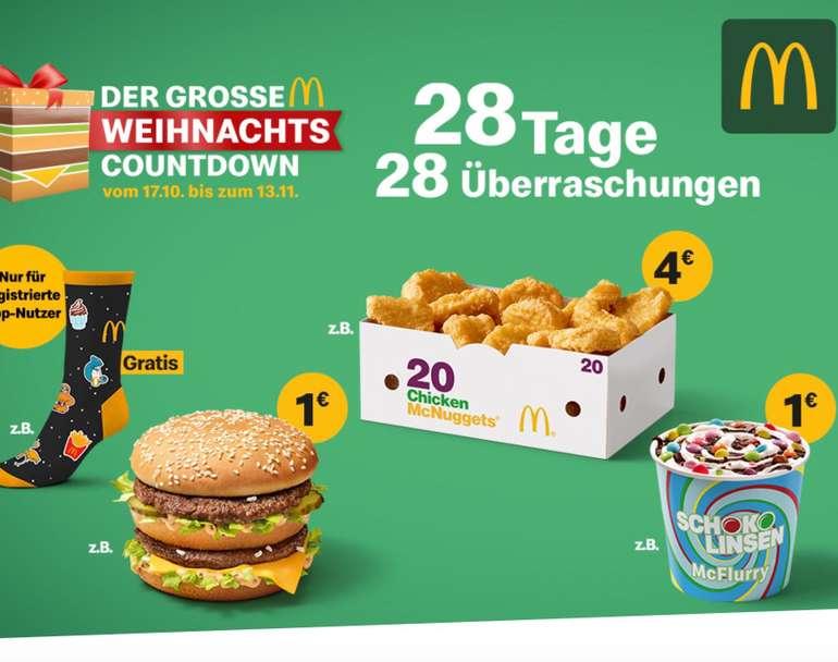 McDonalds Weihnachts Countdown 2019: 28 Tage, 28 Überraschungen - heute Doppelpack Menü für 6,99€ + Gratis Red Bull