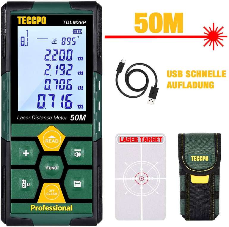 Teccpo TDLM26P Laser Entfernungsmesser (50m, USB Schnellladung) für 24,49€ inkl. Prime VSK