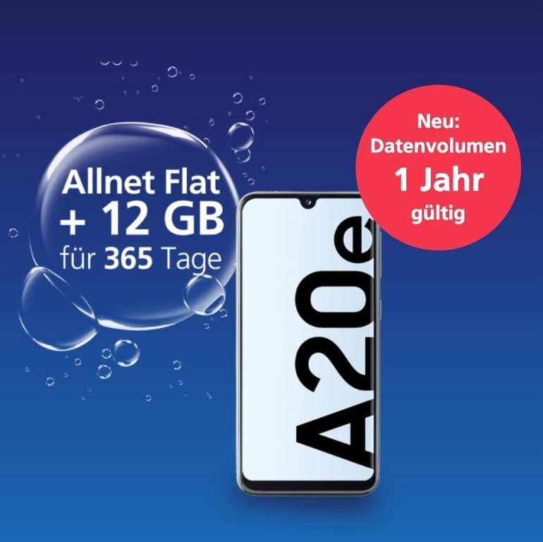 Samsung Galaxy A20e + o2 my Prepaid Jahrespaket mit 12GB LTE, SMS und Sprachflat für nur 149,99€