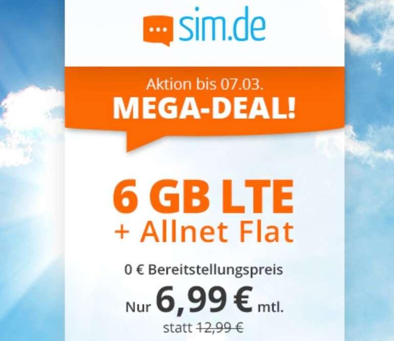 Sim.de o2 Allnet-Flat mit 6GB LTE Datenvolumen (bis zu 50 Mbit/s) für 6,99€ mtl. (ohne Vertragslaufzeit)